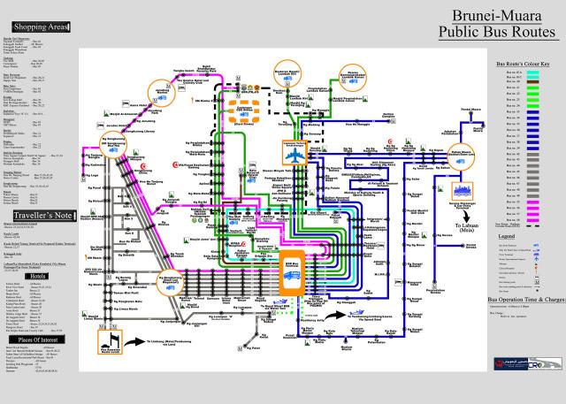 汶萊斯里巴加灣 巴士路線圖